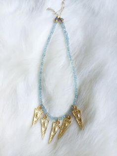 Aquamarine Gold Spike Necklace - Sugar Pine Designs