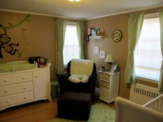 monkey baby room-green and brown boy room