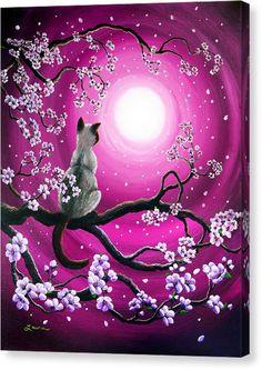 Magenta Morning Sakura Metal Print by Laura Iverson - - Kunst - Katzen Branch Drawing, Cat Drawing, Life Drawing, Sakura Painting, Japanese Painting, Animal Drawings, Artwork Drawings, Animal Art Prints, Cat Art