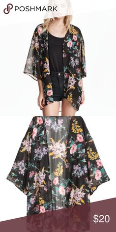 H&M Black Floral Kimono This soft and flirty floral kimono is sure to add a touch of glamour to your look. The lightweight sheer fabric is perfect for showing off a cami or daring bralette and can also be used as a bathing suit cover up. H&M Tops