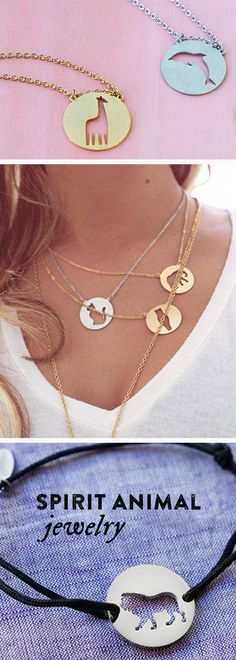 """Wear your spirit animal. Inspiring jewelry that uses negative space to form the """"soul"""" of each animal. Channel your kindred creature or just show off your minimalist charm."""