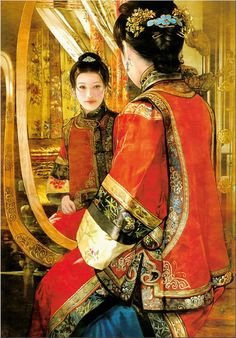 Chinese robe and fancy headdress