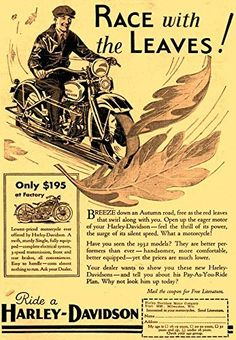 'Harley-Davidson - Race With The Leaves! - 1932' - Fantastic A4 Glossy Print Taken From A Vintage Motorcyle Ad by Design Artist http://www.amazon.co.uk/dp/B019H54CQ6/ref=cm_sw_r_pi_dp_vpSCwb065MSMB