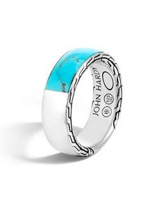 John Hardy Men's Classic Chain Silver Band Ring with Turquoise, Size 10 Sterling Silver Necklaces, Silver Earrings, Silver Ring, Gold Jewelry, Women Jewelry, John Hardy Jewelry, Blue Topaz Necklace, Engraved Necklace, Band Rings