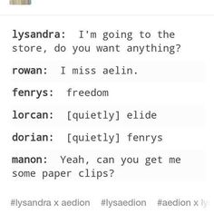Ooh Dorian/Fenrys ship?? Interesting. I however am holding out for Fenrys/Nox.<<<< erm I think u mean fenrys and asterin- he is known to love wild things and asterin is always described as being wild. Sjm has set this up to happen