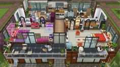 Modern design home for the Justice family - rear view second floor - in my Sims Freeplay.