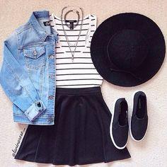 Top & Hat: @forever21  Skirt: @nordstromrack  Jacket: @tjmaxx  Shoes: @hm   Photo Credit: Lanina Rose Instagram:@laninarose_ Website:  http://laninarose.storenvy.com   #fashion #summer #clothes #forever21 #nordstrom #tjmaxx #h&m