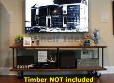 Hard to find a stylish TV console table that fits your entertainment room?. Why not try to make one by yourself! It can also be a two tiers shelving unit. Cast iron fixed castor x 2. Find more on How to make a beautiful industrial wall shelf?.   eBay!