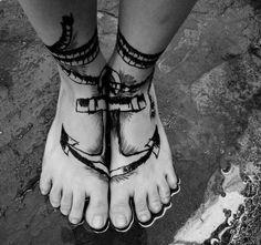 Anchor in feet tattoo
