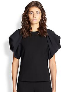 Armani Collezioni Silk-Sleeve Wool Blouse