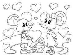 A cute mouse Valentines Day coloring page. Color it in ...