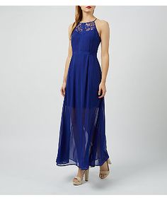 Girls On Film Blue Lace Panel Maxi Dress | New Look