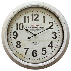 Yosemite Home Decor Circular Iron Wall Clock, Distressed White Iron Frame traditional-wall-clocks