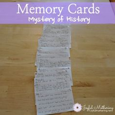Memory Cards The Mystery of History reads so simply, with a personal touch from the author, it's almost like reading history in letter form, rather than textbook style. Although it looks like a textbook (it's big and packs lots of history), it certainly doesn't read like one. Additionally, it offers more hands on activities, not just Q&A at the end of each lesson. There are three levels of activities: Young, Middle, and High school students.