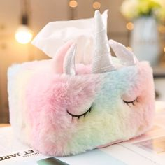 Unicorn tissue box cover is made of comfortable and smooth plush, more silky and elegant than the ordinary tissue holders. Unicorn Bedroom Decor, Unicorn Rooms, Unicorn Decor, Unicorn Bed Set, Unicorn Presents, Girl Bedroom Designs, Bedroom Ideas, Cute Unicorn, Unicorn Kids