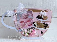 Anja Zom kaartenblog Marianne Design, Stencil Diy, Tea Time, Tea Party, Tea Cups, Paper Crafts, Coffee, Tableware, Handmade