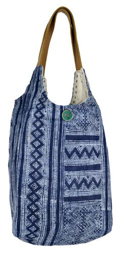 This soft and slouchy tote bag is made from batiked hemp and dyed in indigo. Laos |ClothRoads