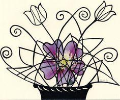 bloemen in pot.