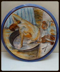Plaat met sier muurschildering Degas The Tub. Piatto di LabLiu, €40.00