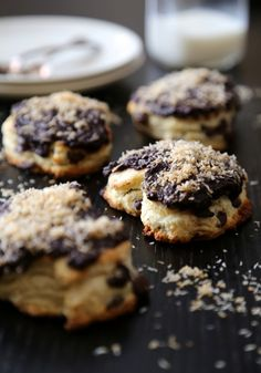 dark chocolate heart scones with chocolate ganache and toasted coconut