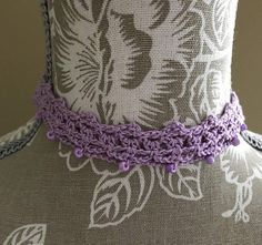 Purple Crochet Lace Choker Necklace Adjustable to 13.5