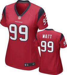 NEW ARRIVAL: J.J. Watt Women's Jersey: Alternate Red Game Replica #99 Nike Houston Texans Women's Jersey