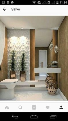 This Is How To Remodel Your Small Bathroom Efficiently, Inexpensively Small Half Bathrooms, Small Half Baths, Master Bathrooms, Modern Bathrooms, Bathroom Interior Design, Interior Design Living Room, Interior Paint, Luxury Interior, Half Bathroom Remodel