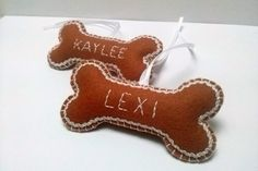 Felt dog bone christmas ornament  Personalized by DusiCrafts
