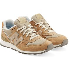 New Balance Suede and Mesh Sneakers ($97) ❤ liked on Polyvore featuring shoes, sneakers, beige, suede sneakers, round toe sneakers, suede leather shoes, beige shoes and new balance footwear