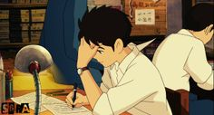 Shun doing what he does lol. -- Studio Ghibli movies, Japanese films, characters, moments, scenes, From Up on Poppy Hill