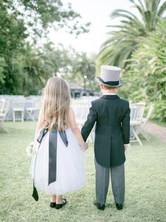 We love this grown up look for a flower girl and ring bearer!