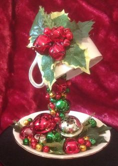 Jingle bells floating teacup by Debs raybould Christmas Cup, Christmas Crafts For Gifts, Christmas Ornaments, Teapot Crafts, Cup Crafts, Tea Cup Art, Tea Cups, Christmas Centerpieces, Xmas Decorations