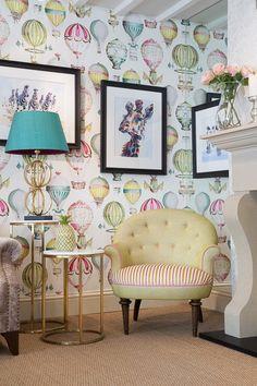 Manuel Canovas wallpaper L'envol Bedroom 2017, Girls Bedroom, Air Balloon, Balloons, Application Pattern, Shabby Chic Bedrooms, Wallpaper Online, Kids Room Design, Curtains With Blinds