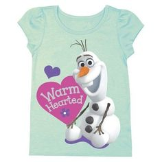 "Disney® Frozen Toddler Girls' Cap Sleeve Olaf ""Warm Hearted"" Tee - Mint Green #Frozen"