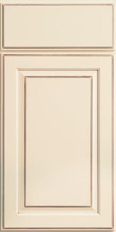 Merillat Classic Somerton Hill cabinet door in cream, Chiffon paint with Desert glaze on Maple wood.