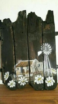 Old reclaimed painted wood with daisies and windmill. This is so beautiful and love the fact that it looks old! Pallet Painting, Pallet Art, Painting On Wood, Pallet Signs, Windmill Art, Prophetic Art, Wooden Crafts, Recycled Art, Pictures To Paint