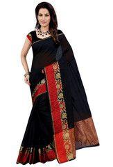 Black & Red Color Sambhalpuri Cotton Silk Party Wear Sarees : Ruvani Collection YF-32751