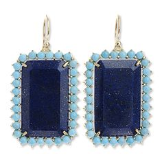 Irene Neuwirth Lapis and Turquoise Earrings.