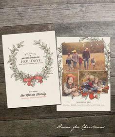 Home for Christmas Template - Customized Cards - Holiday Photo Card Template - Photoshop Template - Printable - Christmas Photo Card