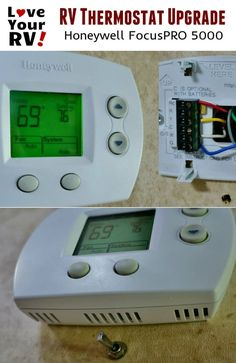 RV Thermostat Upgrade Mod Honeywell FocusPRO 5000 Install notes and video details by the Love Your RV blog - http://www.loveyourrv.com/rv-thermostat-upgrade-honeywell-focuspro-5000/  #RVing #RVmods