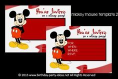Mickey mouse birthday party invitation template 2