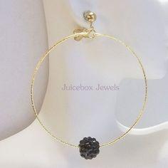 Clip on  2.75 inch BLACK Rhinestone Ball Handmade Hoop Gold Tone Earrings V479 #Handmade #Hoop