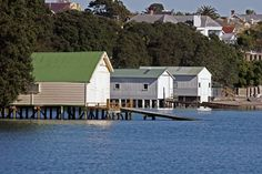 Boathouses at Herne Bay in Auckland.