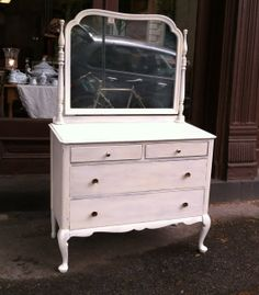 Circa 1930 S Dresser With Cheval Mirror Shabby Chic Distressed Aged White Painted Shabadashery Antiques And