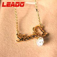 LEADO new 2014 brand Korea created gemstone butterfly letter necklaces pendants jewelry for women girl wedding accessories LJ020