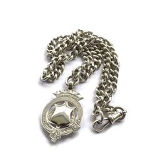 Silver Albert Chain Necklace Antique Watch Fob Necklace