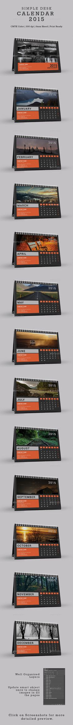 Simple Desk Calendar 2015 Template | Buy and Download: http://graphicriver.net/item/simple-desk-calendar-2015/9902552?ref=ksioks