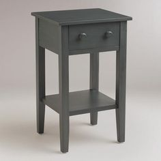 "Tobacco Blue Sara Nightstand (World Market $59.99 on sale) - Sadly measures up at 16"" wide :("