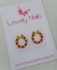JÓIAS NATALINAS PARA UNHAS MODELO JN1 Nail Arts, Gems, Stud Earrings, Manicures, Veronica, Jewelry, Design, Christmas Nails, Nail Jewels