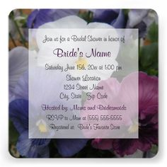 Pretty Purple and White Pansy Bridal Shower Invitations.  A photo of the flowers appears in the background.  Very feminine.